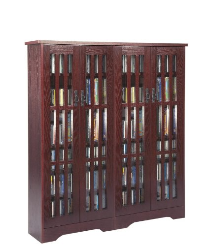 Leslie Dame M-954DC High-Capacity Inlaid Glass Mission Style Multimedia Storage Cabinet, Cherry (Pottery Barn Cabinet compare prices)