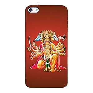 ColourCrust Apple iPhone 4 Mobile Phone Back Cover With Devotional Punch Mukhi Hanuman - Durable Matte Finish Hard Plastic Slim Case