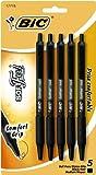 BIC Soft Feel Retractable Ball Pen, Medium Point, 1.0 mm, Black, 5 Pens (SCSMP51-Blk)