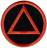 Circle Triangle Sobriety Patch Embroidiered Iron-On Sober Emblem Black Orange