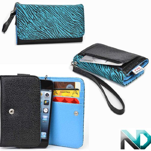 Blackberry Bold Touch 9900 Smartphone Wristlet [Aqua Blue Zebra Print And Black- Electric Blue ] Universal Fit & Nextdia Cable Strap
