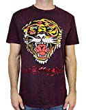 Ed Hardy Men's T Shirt Tiger, Burgundy Mineral, Large