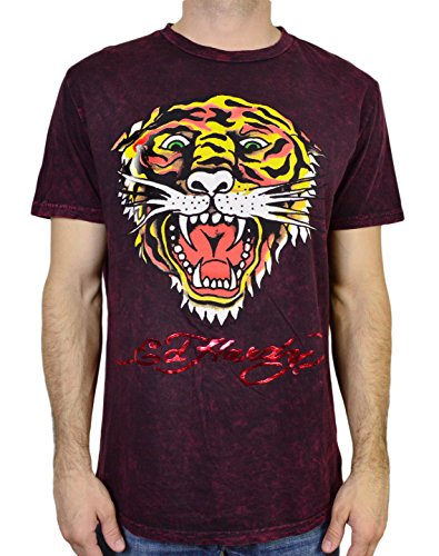 Ed Hardy Men s T Shirt Tiger, Burgundy Mineral, XX…