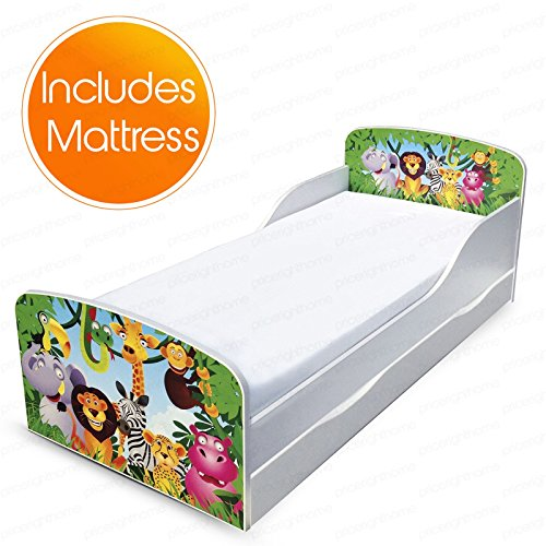 PriceRightHome Jungle Design MDF Toddler Bed with storage + Deluxe Mattress