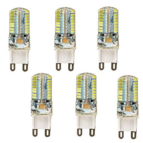 Hossen 6Pcs 5W G9 3014Smd 64-Led Energy Saving Cool White Light Bulb Crystal Capsule Spotlight Lamps
