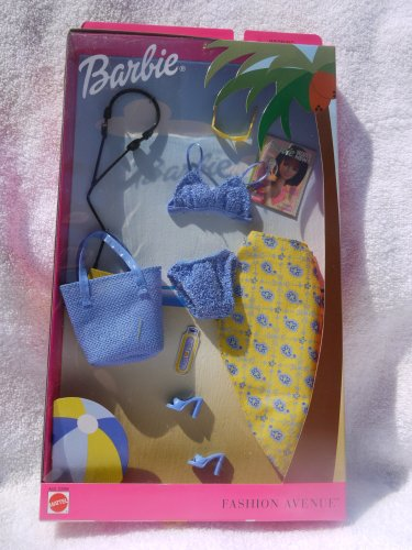 Barbie Fashion Avenue SPLASH Beach Outfit Two Piece Blue Knit Bikini Yellow and Blue Print Coverup and Blue Tote 2002