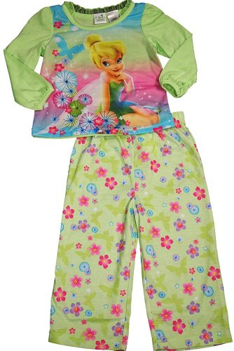 Disney Fairies - Little Girls Long Sleeve Tinkerbell Pajamas, Light Green 33580-3T front-62799