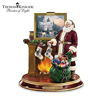 #!Cheap Thomas Kinkade Illuminated Santa Claus Tabletop Figurine: Light Up The Holidays by The Bradford Exchange