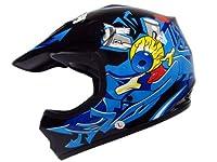 TMS Youth Kids Black/Blue Punk Dirt Bike Atv Motocross Helmet Mx+goggles+gloves (Medium) by T-Motorsports