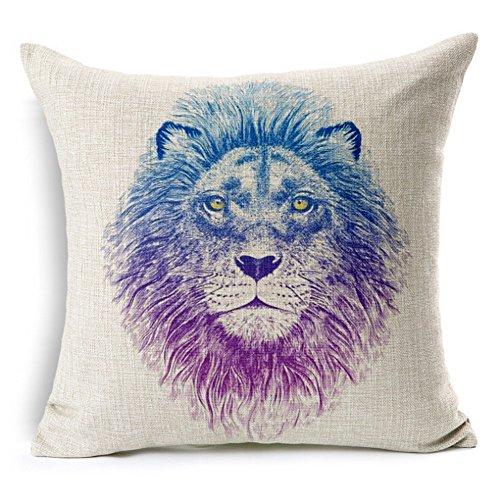 kingla home cotton linen square decorative throw pillow covers 18 x 18 inch discolor lion. Black Bedroom Furniture Sets. Home Design Ideas