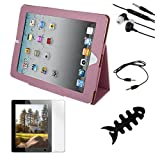 Premium Pink Leather Case + Clear Screen Protector + 3.5mm Audio Cable + Earphone w/mic + Fishbone Holder for Apple Ipad 2nd Gen 16GB 32GB 64GB