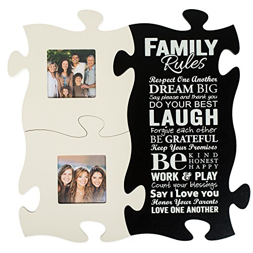 Family Rules Respect Love One Another 20 x 20 Puzzle Piece Photo Frame Set of 3 (Picture Frame Puzzle compare prices)