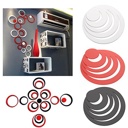 Yueton Pack of 15 DIY Wall Stickers Rounds Dots Circles Acrylic 3D Home Decal Living Room Wall Paper Decor, 3D Circles Ring Indoor Room Home Decoration - Removable