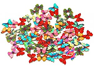 Pack of 50PCS Butterflies Buttons-Mixed Wood Buttons Sewing Scrapbooking Flowers Shaped 2 Holes from Auto