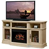 """Portobello 68"""" TV Stand with Electric Fireplace Insert Style: Logs, Finish: Parchment"""