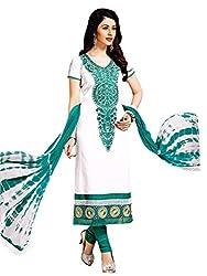 Salwar Studio White & Teal Dress Material with Dupatta Simran-3004