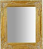 Specchio Specchiera da Parete con Cornice Rettangolare in Legno 27x3x32 cm Finitura Oro Anticato da Appendere Verticale/Orizzontale