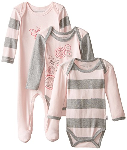 Burt's Bees Baby Baby-Girls Newborn Organic Spiral Bee Bodysuit and Bee Coverall, Blossom, 3 Months (Cutest Baby Girl Clothes compare prices)