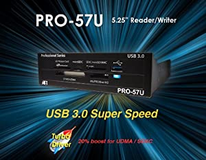 Atech Flash Pro-57U USB 3.0 True SuperSpeed Internal Flash Memory Card Reader w/ Front USB 3.0 Port for 5.25 Inch Drive Bay (Retail) *MUST HAVE USB 3.0 ON COMPUTER