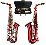 Merano E Flat Red Alto Saxophone with Zippered Hard Case + Mouth Piece,Screw Driver, nipper. A pair of gloves, Soft Cleaning Cloth