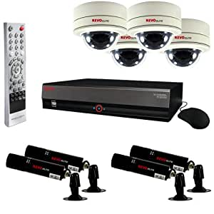 Revo RE16BNDL29-4T Elite Surveillance System with 16-Channel 4TB DVR, 4 Covert Lipstick Cameras and 4 Mini Dome Cameras (Black)