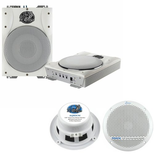 Lanzar Marine Amp Woofer And Speaker Package - Aqtb8 8'' 1000 Watts Low-Profile Super Slim Active Amplified Marine/Waterproof Subwoofer System - Aq5Dcw 300 Watts 5.25'' Dual Cone Marine Speakers (White Color) (Pair)