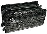 モテ系アイテム!デキる男の牛革クロコ型押しWファスナーセカンドバッグ [ JAM 2051 ] 誕生日プレゼント (ブラック)