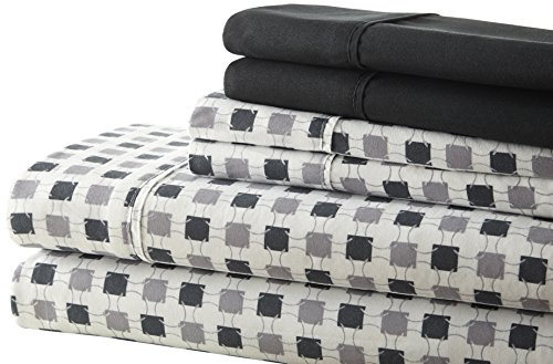 Spirit Linen Hotel 5Th Ave Palazzo Home 6-Piece Luxurious Printed Sheet Set, Full, Black/Grey (Full Sheet Set Hotel compare prices)