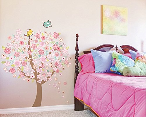 Romantic Wedding?Room Cozy Bedroom?Tiles?Wall?Stickers Pink Peach Tree front-730228