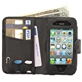 Manhattan Full Leather Wallet and iPhone 4 4S Case plus Card Holder with Strap in Black