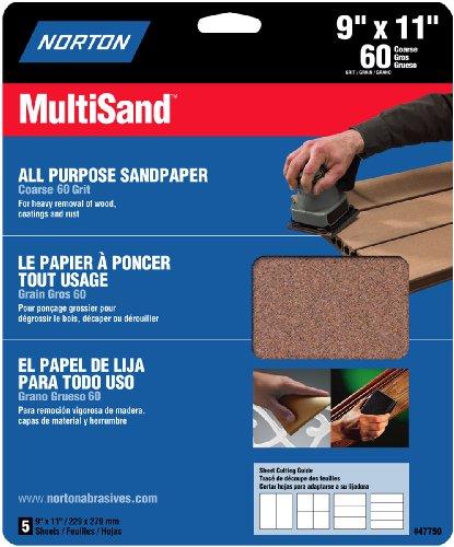 Norton 47750 Multisand Sandpaper 60 Grit, 9-Inch x 11-Inch, 5-Pack