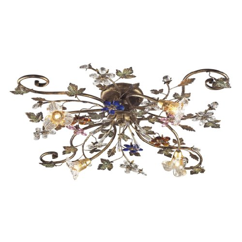 Artistic Lighting 9105/4 4-Light Semi Flush In Bronzed Rust And Multi Colored Crystal Florets