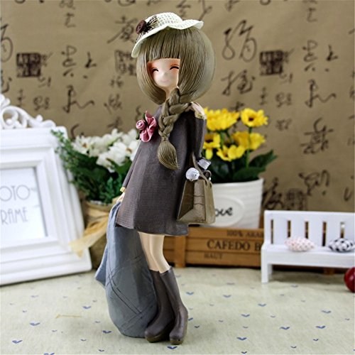 Danmu Lovely Girl Resin Statue Home Decor Tabletop Figurine Decor (Style 2)