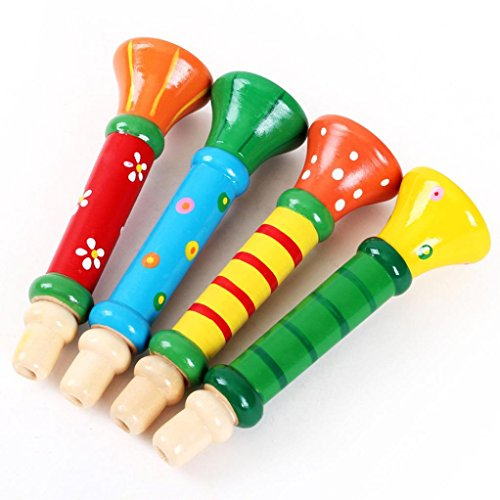 LandFox-Education-ToysMulti-Color-Kids-Wooden-Horn-Hooter-Trumpet-Instruments-Music-Toys