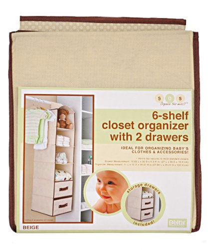 Great Deal! Delta Children's Products 6 Shelf Hanging Storage Unit with 2 Drawers, Beige
