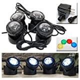 Jebao PL1LED-4 Submersible Pond LED Light with Colored Lenses (Color: plastic, Tamaño: Set of 4)
