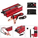 TopGain Peak 2000W Pure Sine Wave Inverter 12V DC to 110V AC Car Charger with 2 AC Outlets 2A USB Port