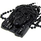 Jesus Pendant w/ 34'' Bead Link Chain - Iced Out - Black Plated - Bling