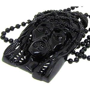 Black Jesus Piece Pendant Chain Necklace Hip Hop Bling Mens