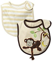 Little Me Baby-Boys Newborn 2 Pack 3D Monkey Hanging From Tree Bibs, Brown, 0-12 Months