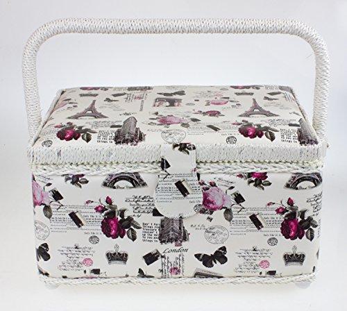Grazioso cestino per cucito, con coperchio singolo e vassoio rimovibile, con motivo stampato a rose, colore: panna