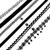 FIBO STEEL 6-8PCS Womens Black Velvet Choker Necklace for Women Girls Lace Choker Gothic Tattoo Necklace