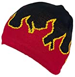 Mega Cap Adult Flames Design Beanie Skull Cap W/Fleece Lining (One Size) - Black/Red