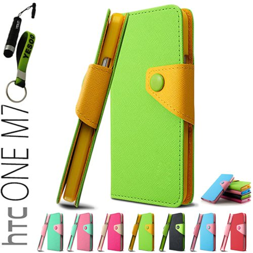 YESOO High Quality Leather Wallet Case With Magnetic flap closure For HTC One M7 Fancy colorful Case Cover With Aluminum Touch Pen And Silicone Key Chain (Green)