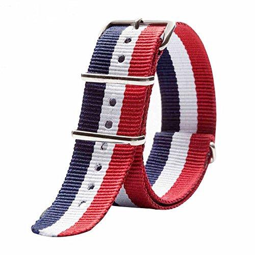 vear Multicolore 20mm 22mm in nylon sport watch band Strap Cintura con fibbia in acciaio per uomo, Uomo, 20mm, Taglia unica