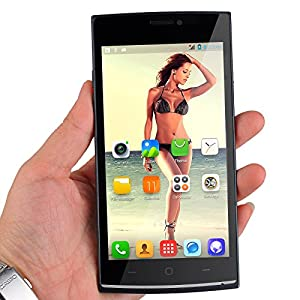 JIAKE V17 Unlocked 5.0 Inch Android 4.4.2 3G Smartphone Phablet Dual Core MTK6572 Dual SIM Dual Standby GPS Cellphone WIFI WAP Bluetooth Google APPs (Black)