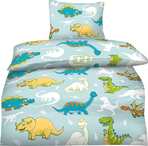 aminata kids niedliche jungen kinder bettw sche 100x135 mikrofaser dinosaurier dino bettw sche. Black Bedroom Furniture Sets. Home Design Ideas