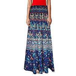 Ethnic Style Cotton Wrap Around Block Print Full Length Skirt