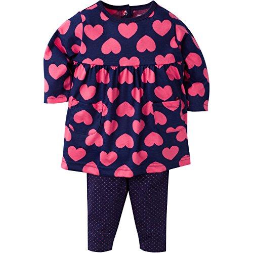 Gerber Girls' Dress and Legging Set, Hearts, 0-3 Months