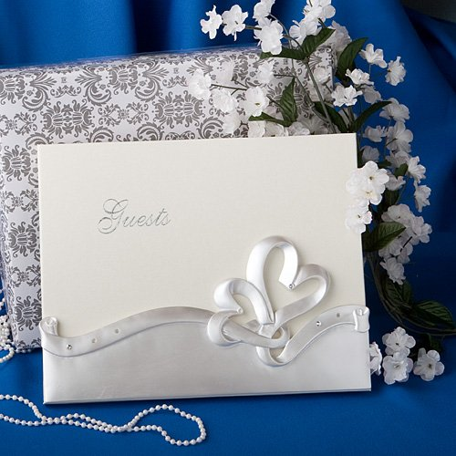 519vzypuHDL Interlocking hearts design wedding guest book, 1 piece